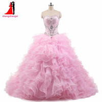 Pink Quinceanera Dresses 2017 2 Pieces Crystals Ball Gown Plus Size Long Prom Party Dress Vestidos De 15 Anos Sweet 16 Dresses