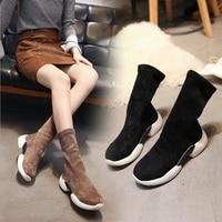 Ковбойские Роскошные брендовые зимние эластичные носки, женские замшевые короткие ботинки, bota feminino, ботинки челси на толстой подошве, извес
