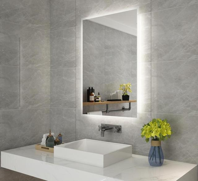 DIYHD Box Diffusers Led Backlit Bathroom Mirror Vanity Square Wall Mount Bathroom Finger Touch Light Mirror 2