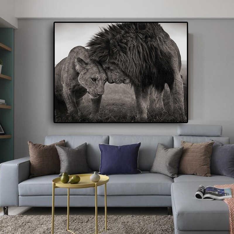 אריות ראש כדי ראש שחור ולבן בד אמנות ציור והדפסי סקנדינבי Cuadros קיר אמנות תמונה לסלון חדר