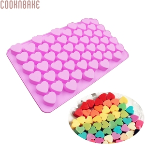 COOKNBAKE DIY Silicone Mold 55 Lattices Heart Chocolate Mold Ice Cube Tray Biscuit Candy Mold SICM-215-7