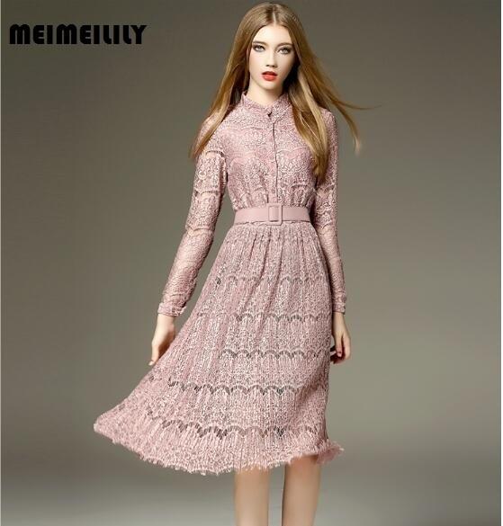6dc340ae1000 € 33.7 |2017 mujeres ropa primavera ropa a line Vestidos moda casual Plus  size Slim Encaje color sólido señora manga larga Encaje vestido en ...