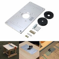 Universal Aluminum Metal Router Table Insert Plate With 4pcs Insert Rings For DIY Woodworking Tools Mayitr