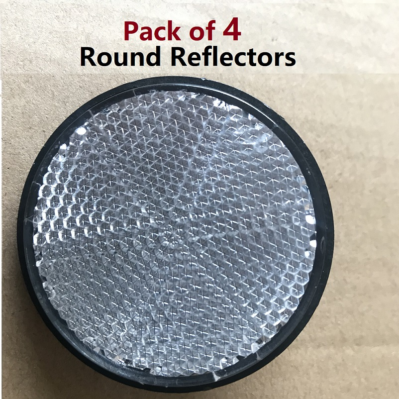 4pcs White Round Reflectors Screwed Motorcycle Trucks Cars Trailer RV Campervan Auto Rea ...