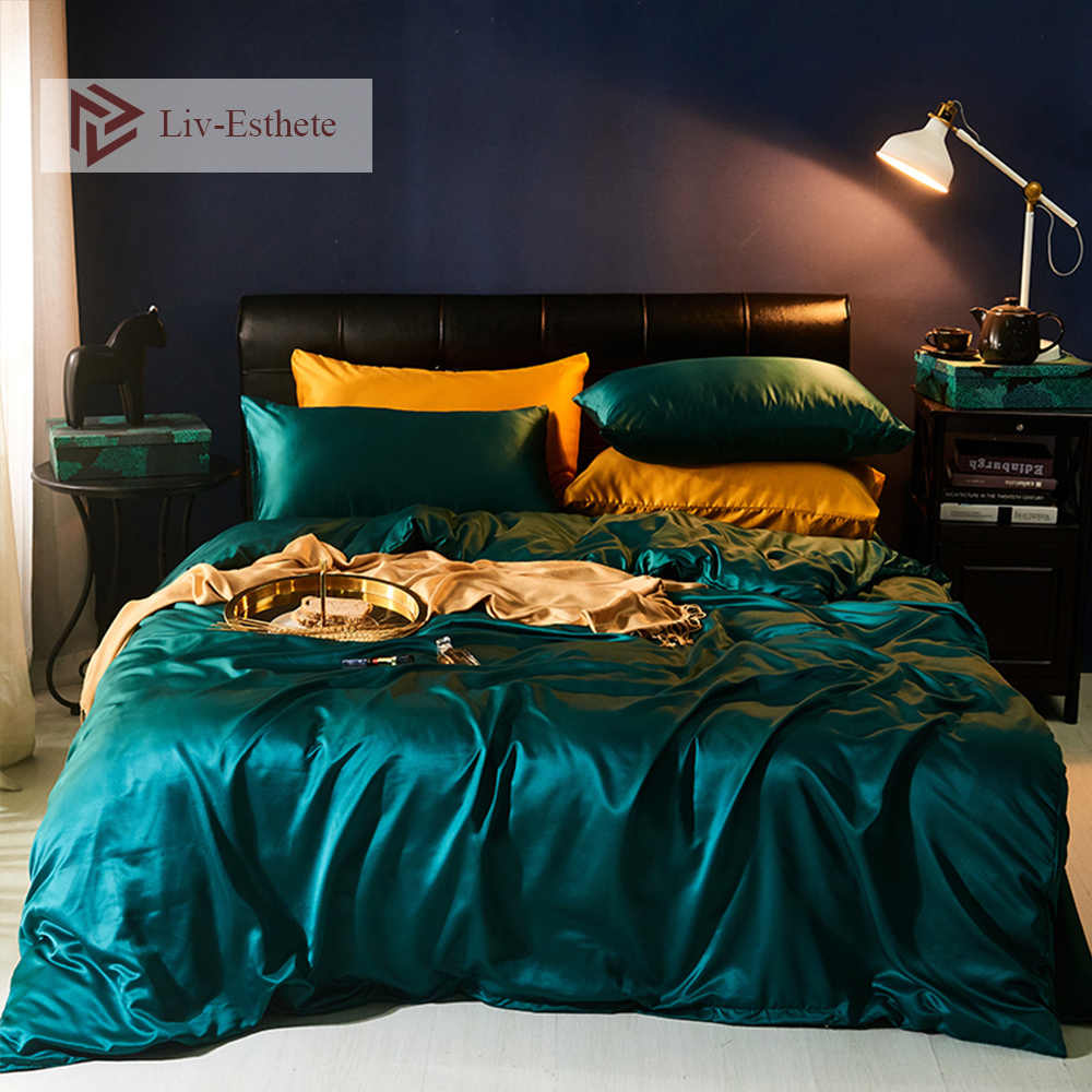 Liv-Esthete Luxury Dark Green Silk Bedding Set Silky Duvet Cover Flat Sheet Pillowcase Bed Linen Double Queen King For Adult
