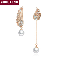 Top Quality Imitation Pearl Asymmetric Wings 18K Rose White Gold Plated Stud Earrings WholesaleZYE803 ZYE804