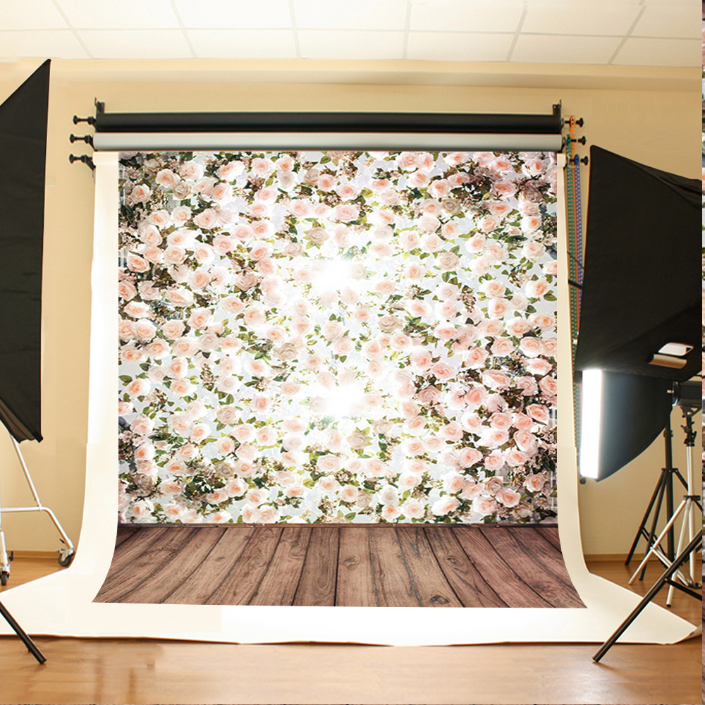Wedding Photography Background Flowers Green Leaves Photo Booth Backdrops Brown Wood Floor Background for Photographic Studio