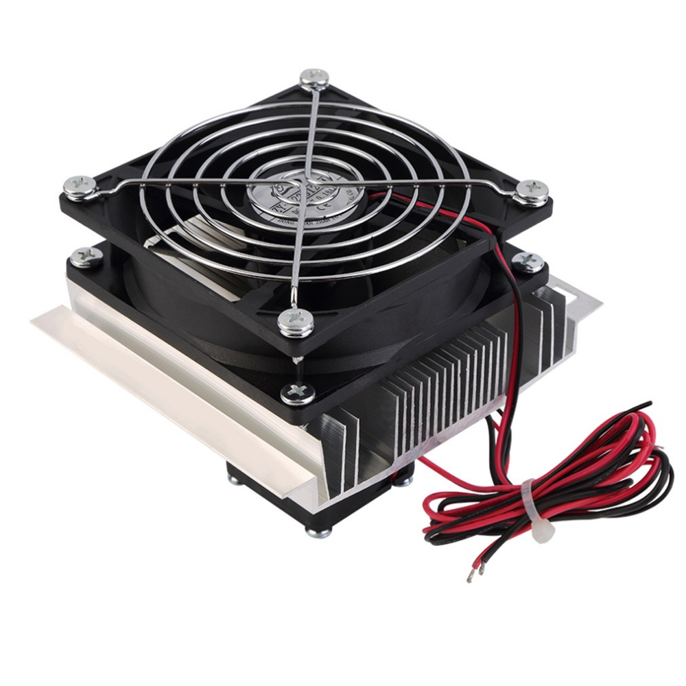 60W Thermoelectric Peltier Cooler Refrigeration Semiconductor Cooling System Kit Cooler Fan Finished Kit Computer Components thermoelectric peltier refrigeration cooling cooler fan system heatsink kit