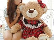 lovely big plush teddy bear toys red skirt brown teddy bear doll girl bear toy gift doll about 100cm