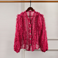 Designer Luxury Shirts for Women V Neck Fuchsia Lace Perspective Lantern Sleeve Pentagram Diamonds Button Blouse Tops