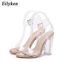 Eilyken/женские босоножки с ремешком на лодыжке, высокий каблук из плексигласа, ПВХ, прозрачный кристалл, лаконичный классический ремень с пряж...