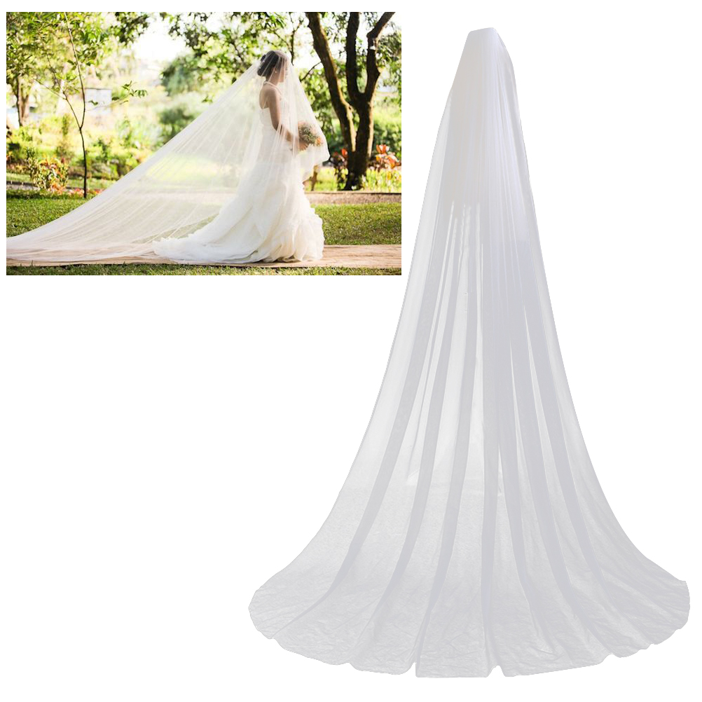 Long Wedding Hairstyles With Veil: Aliexpress.com : Buy 3M Wedding Veil Double Layer Chapel
