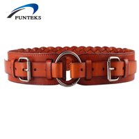 FUNTEKS New Designer Real Cow Genuine Leather Elastic Wide Belts For Women Fashion Retro Strap Female