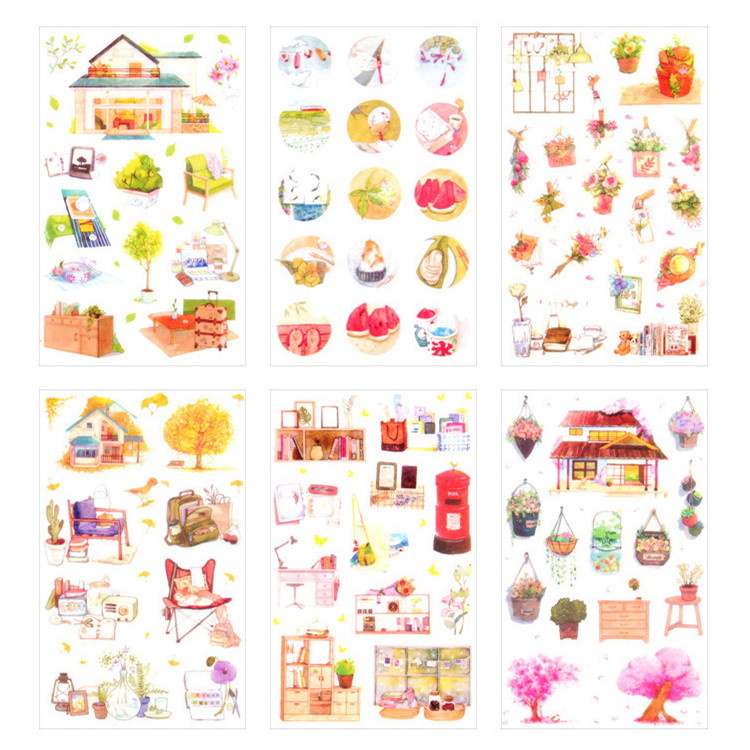 6 Sheets/pack Warm Home DIY Adhesive PVC Stickers Decorative Diary Album Stick Label Paper Decor Stationery Kids Gift