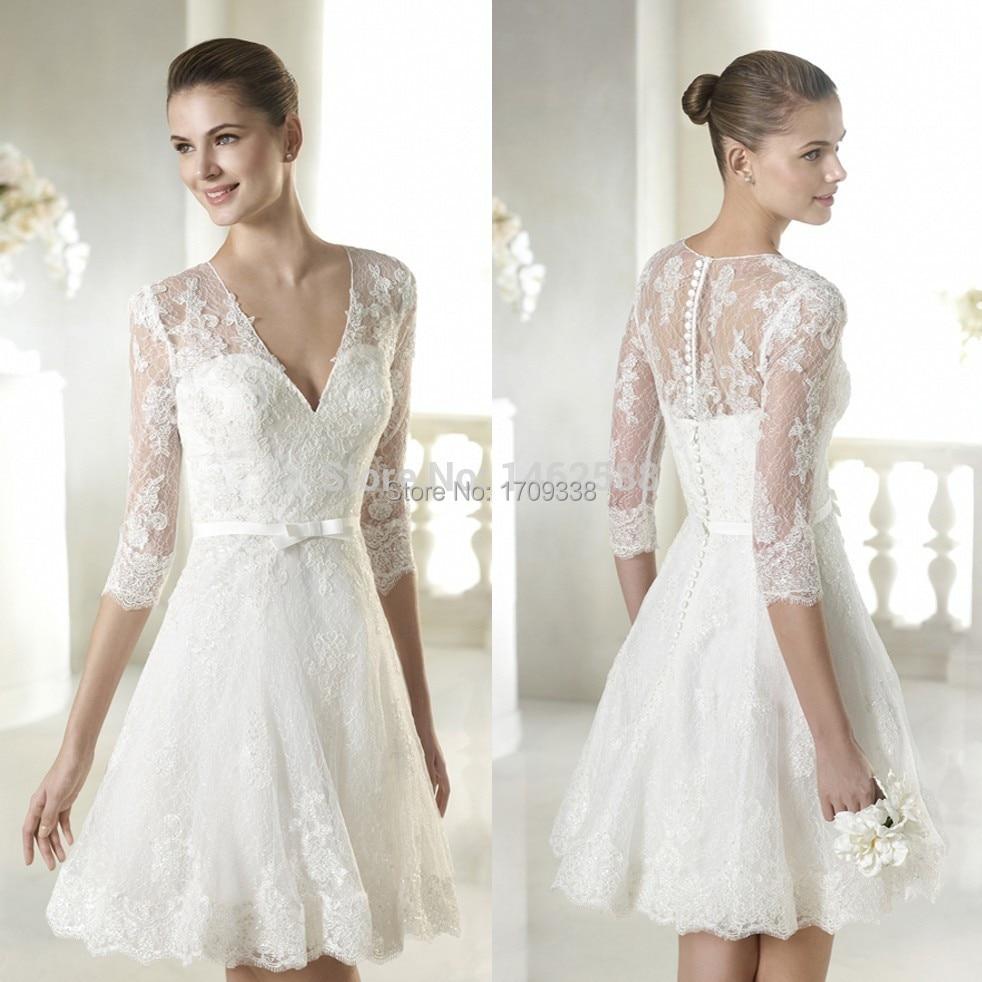 A Line V Neck Short Lace 3/4 Sleeves Wedding Dress Short