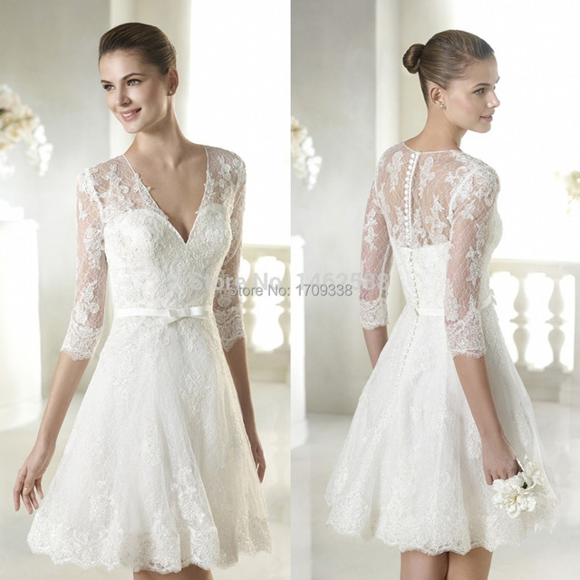 short lace 3 4 sleeves wedding dress short destination wedding dresses