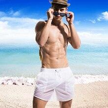 Uomini Beachsuit Traslucido 2018 Swimwear Shorts del Bordo Degli Uomini Sexy Tronchi di Nuoto degli uomini Per La Balneazione Gay Breve Costumi Da Bagno Beachwear