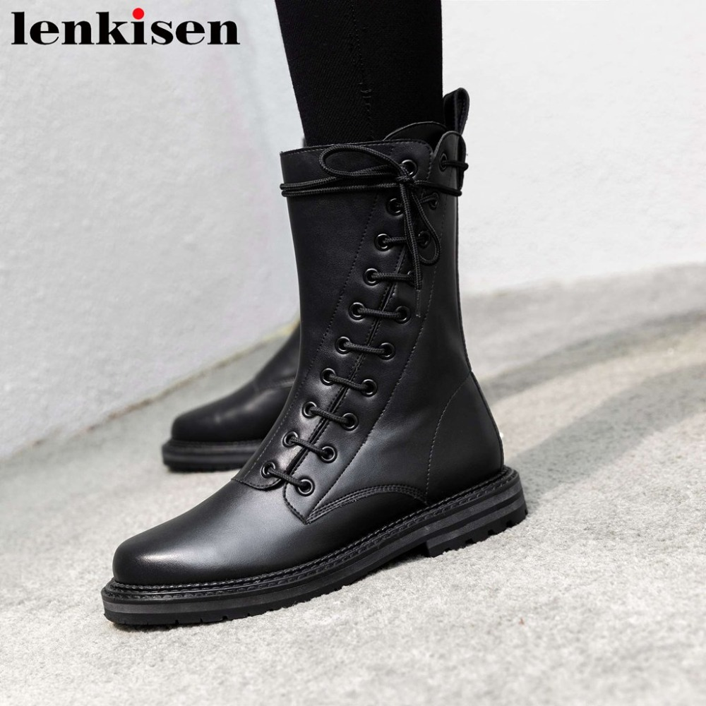 Novelty desgin 2018 populsr motorcycle boots genuine leather round toe low heels zipper cross-tied young lady mid-calf boots L60Novelty desgin 2018 populsr motorcycle boots genuine leather round toe low heels zipper cross-tied young lady mid-calf boots L60
