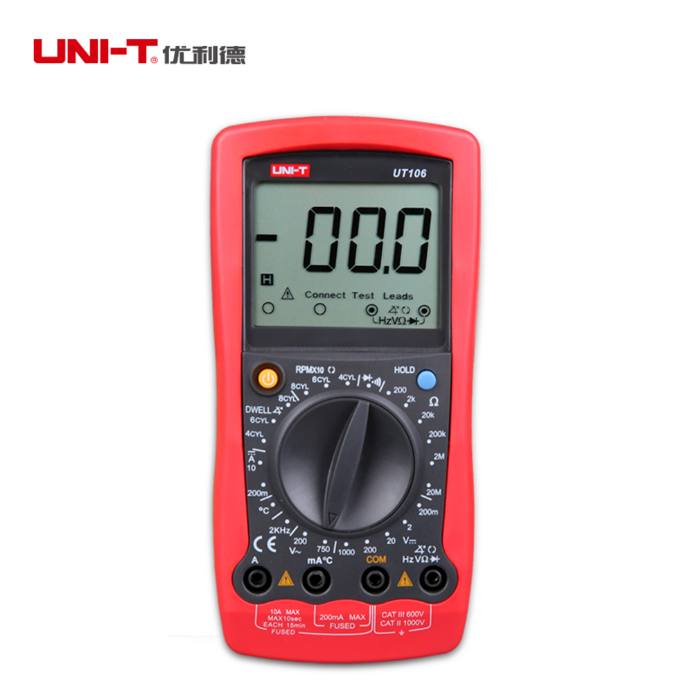 UNI-T UT106 Handheld Manual Range automotive multimeter Multi-Purpose Temperature Frequency Resistance Meters Tester multitester  цены