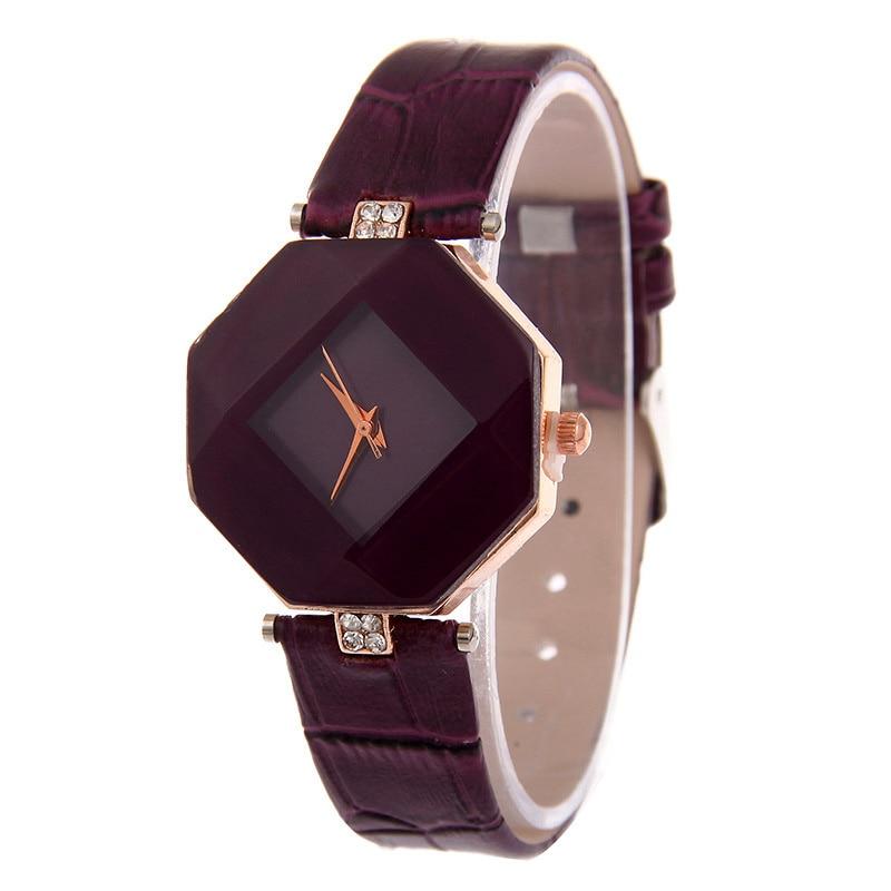 Gem Cut Geometry Crystal Leather Quartz Women Watch 5