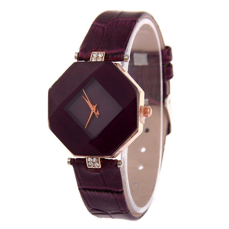 Women Watches Gem Cut Geometry Crystal Leather Quartz Wristwatch Fashion Dress Watch Ladies Gifts Clock Relogio Feminino 5 color 10
