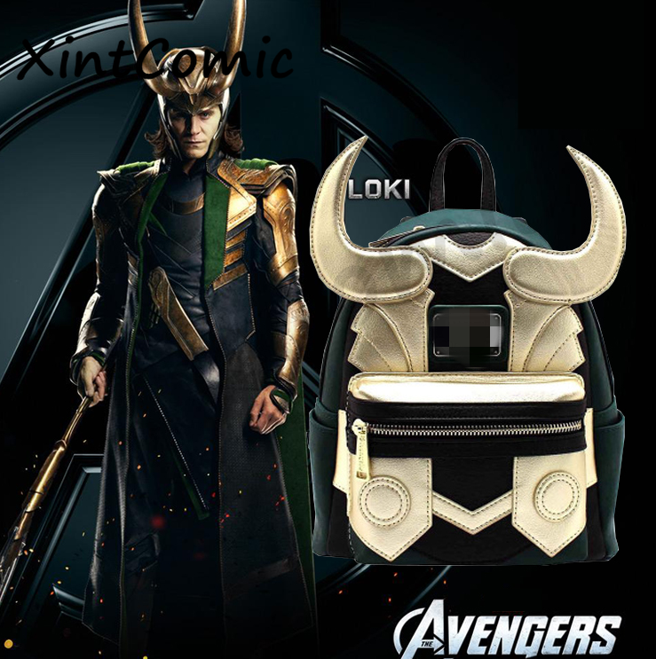 Hot New Marvel Movie The Avengers Loki Backpack Fashion Classic Green Golden Fighting Form Backpack Fancy Shoulder Bag Gift