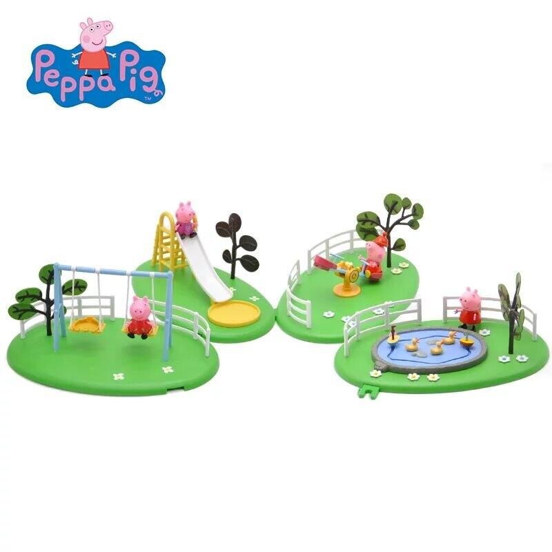 Peppa Pig Family Amusement Park Slide Swing turntable Figure brick Toys Kids Birthday Gift Genuine