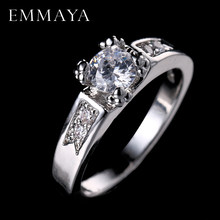 EMMAYA Rounds Cubic Zirconia Engagement Rings White Gold-Color Crystal Cz Wedding Jewelry For Women Anel(China)