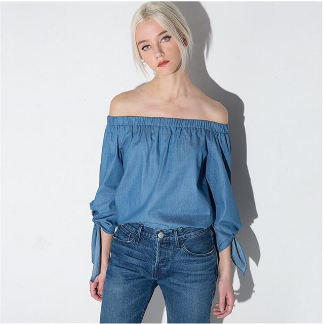 20f38bd0a28a72 Sweet Summer Blouse Off Shoulder Shirts Women Solid Blue long Sleeve Tops  Sexy Backless Vintage Blouse