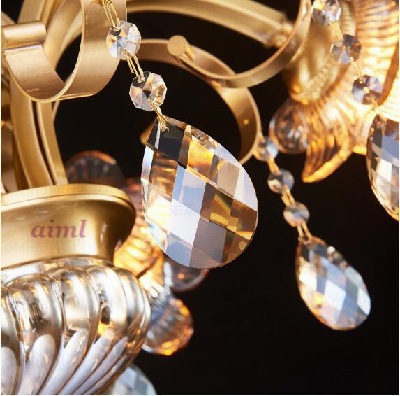 High quality Europe type droplight contracted crystal droplight All copper K9 crystal droplight 3 5 6 8 10 12 Heads in Pendant Lights from Lights Lighting