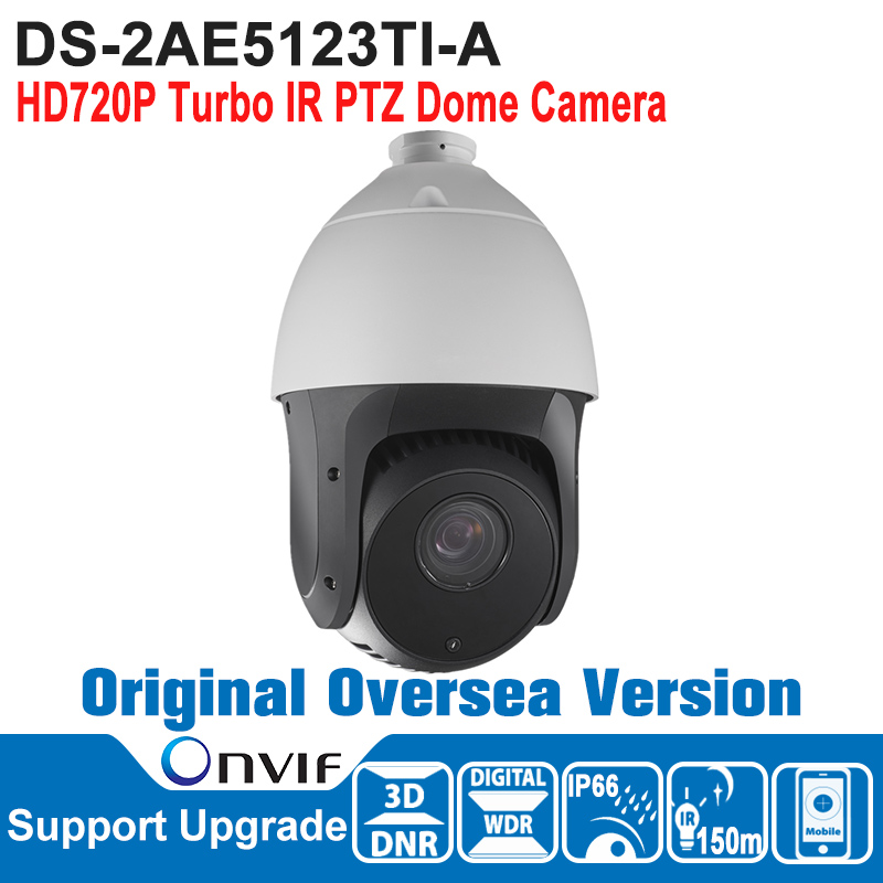 DS-2AE5123TI-A HIK PTZ Camera 1MP Outdoor HD720P Turbo IR PTZ  Dome Camera Speed Dome Camera IP66 ONVIF P2P CMOS 3D DNR ds 2df7274 ael hik ptz camera 1 3mp network ir ptz dome camera speed dome camera outdoor high poe ip66 h 264 mjpeg mpe