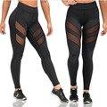 Novas Mulheres Leggings Calças de Malha Oco Bodycon Preto Elastic Slim Fit Sportswear Patchwork Lady Leggins Calças de treino
