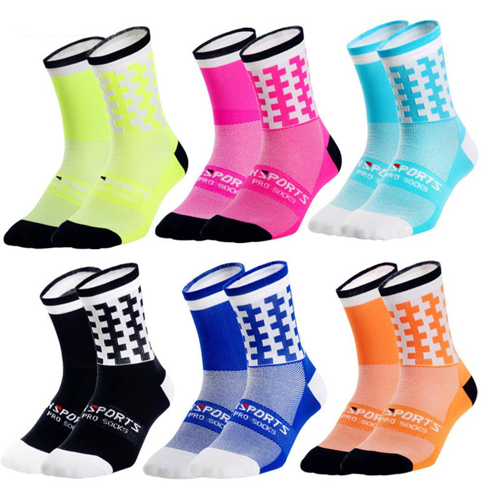 Sports Socks On For Racing Hiking MTB Road Bike Bicycle Socks Breathable Cotton Knee-High Cycling Socks Geometric Patterns