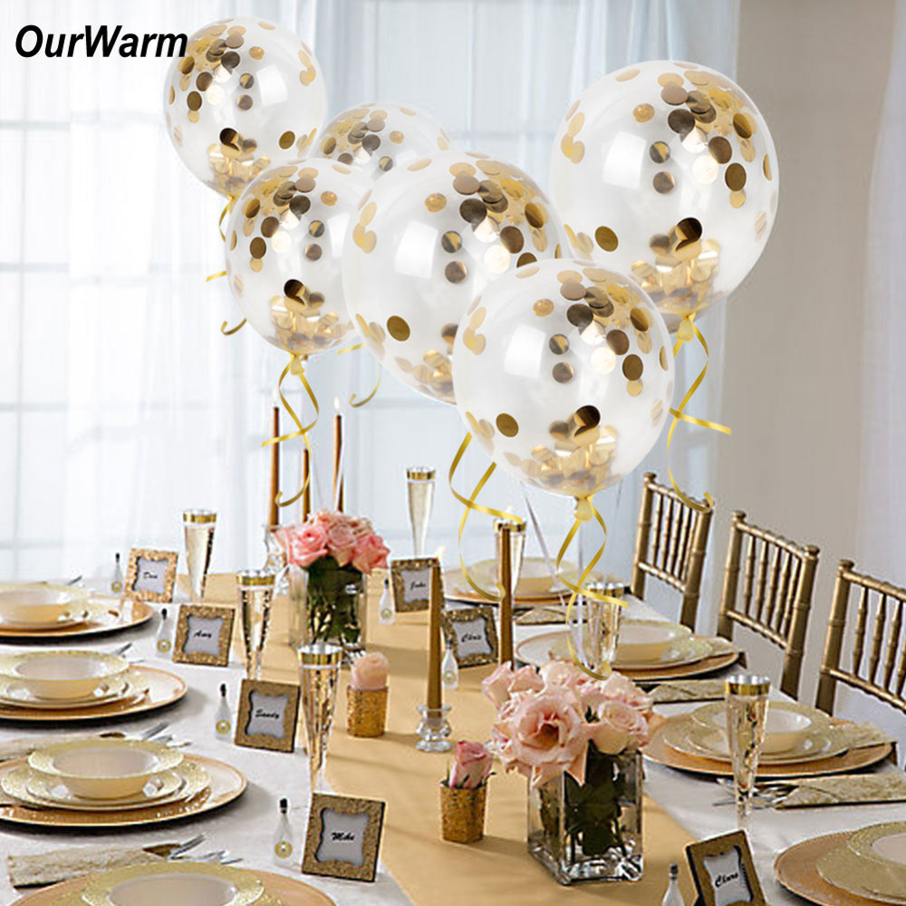 OurWarm Wedding Decoration Gold Confetti Balloons Helium Balloons ...