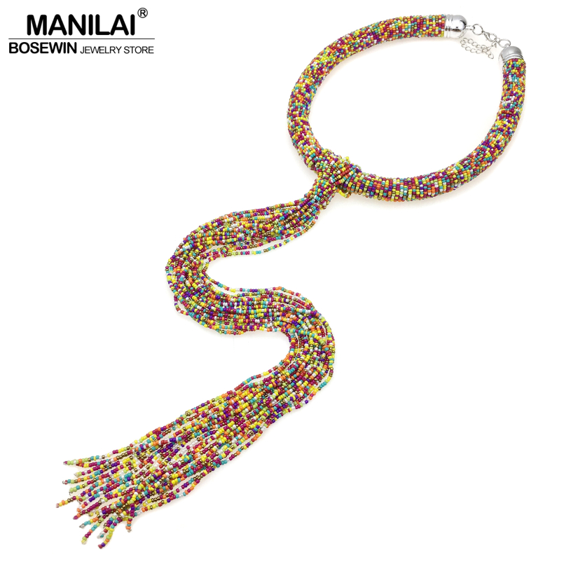MANILAI 7 Colors Bohemian 44cm Long Beaded Pendants Necklaces For Women Handmade Jewelry Statement Choker Beads Tassel Necklace все цены