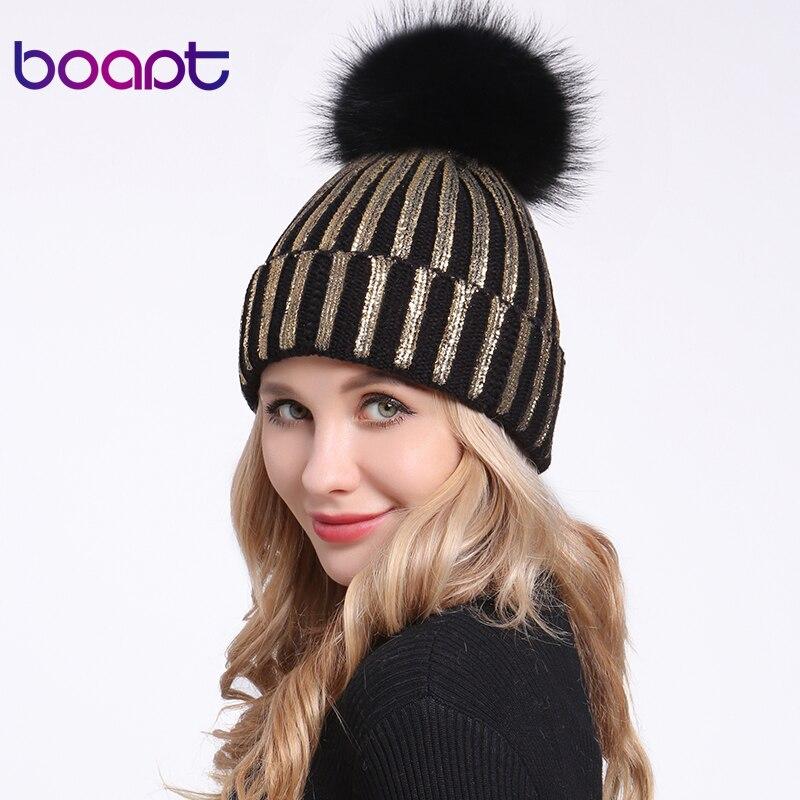 [Boapt] Bronzing Gold Silber Hüte Reale Natürliche Waschbär Pelz Pompon Hut Für Frauen Winter Gestrickte Warme Kappe Weibliche skullies Beanies