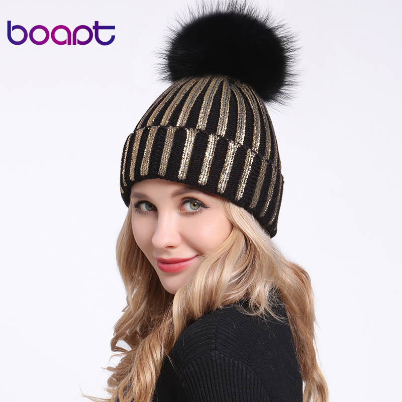 [boapt] Bronzing Gold Silver Hats Real Natural Raccoon Fur Pompon Hat For Women Winter Knitted Warm Cap Female   Skullies     Beanies