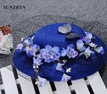 Accessori Acconciature Sposa Cappellino Vintage Royal Blue Wedding Hats With Black Veil Floral Ladies Hats SQ023