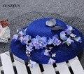 Accessori Sposa Acconciature Cappellino Vintage Royal Blue Wedding Sombreros Con Velo Negro Floral Ladies Sombreros SQ023