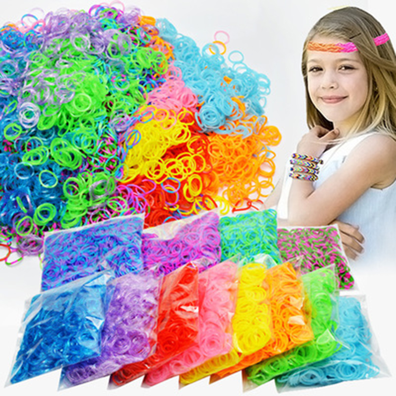 1800 stücke Gummi Loom Bands Diy Spielzeug Für Kinder Schnürung Armbänder Mädchen Geschenk Haar Gummibänder Refill Machen Gewebte Armband