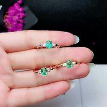 Shilovem 925 стерлингового серебра натуральные изумрудные кольца ювелирные изделия женские модные юбилейные открытые Новые Обручальные кольца yhj040601agml