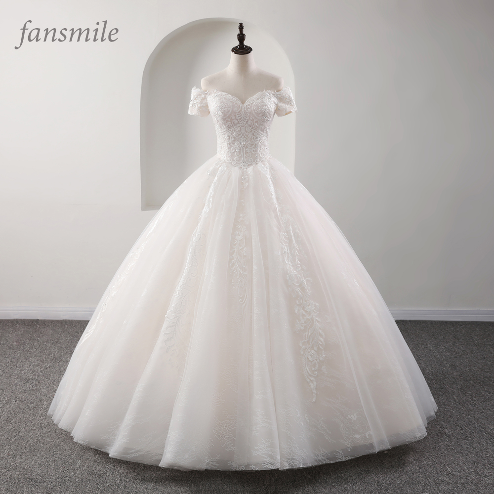 Fansmile New Luxury Vintage Quality Lace Wedding Dress 2019 Ball Gown Princess Bridal Wedding Gowns Vestido De Noiva FSM-558F