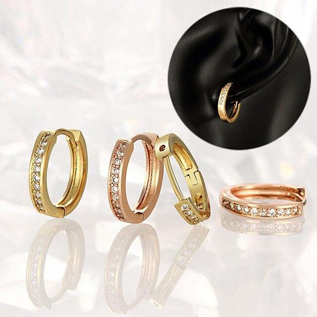 e1769c25c New Fashion Women Jewelry Rose Gold Plating Round Ear Stud Zircon Earrings  Ear Rings KQS