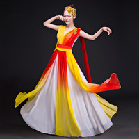 yellow singer costumes for women chorus dress singer clothing pretty fairy dress chinese festival performance clothing