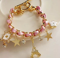Nova moda personalidade pentagrama flor colorida pulseira de corda Torre Eiffel pulseira jewlery para as mulheres S073