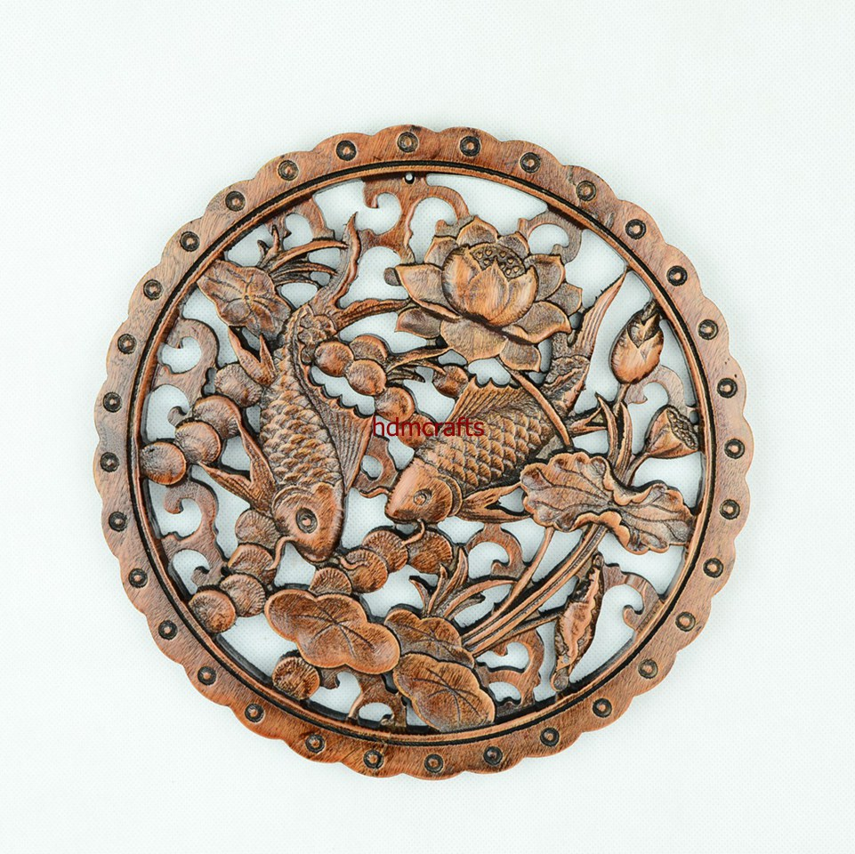 Chinese framed wood carving fishes & flower sculpture painting