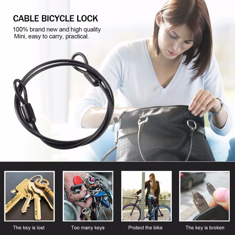 Купить с кэшбэком Hot Sale! Cable Steel Wire Rope 100cm/39'' For Outdoor Sports Bike Lock Bicycle Cycling Scooter Guard Security Luggage Safety