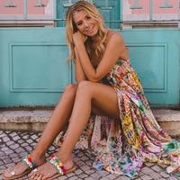 Women Off Shoulder Floral Print Boho Dress Fashion Beach Summer Dresses Ladies Long Maxi Dress Vestidos