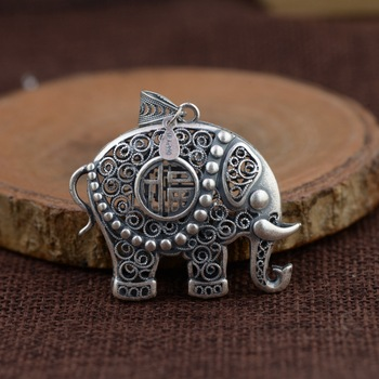 pendant 990 Silver silver wholesale filaments two-sided three-dimensional elephant pendant sweater chain style female model
