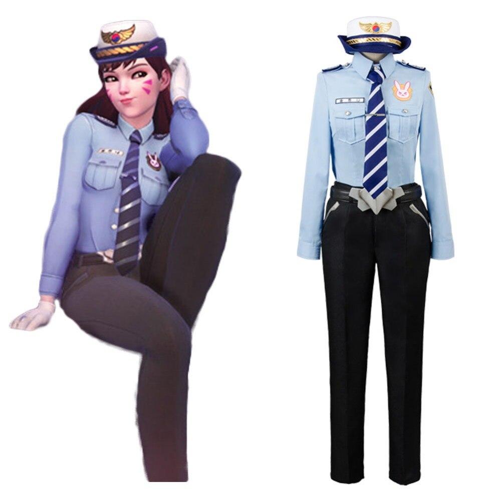 OW Cosplay D.VA DVA Hana Song Police Officer Carnival Uniform Cosplay Costume Full Set Free Shipping